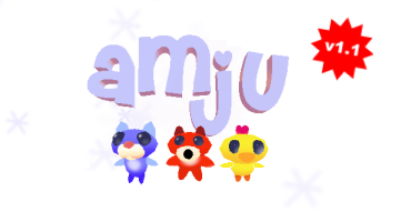 The word 'Amju' and a little star with 'v1.1' in it - that's the version number. Below that are a cat, a fox and a bird.